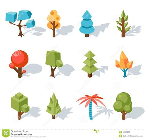 tree low poly icons vector isometric 3d stock vector