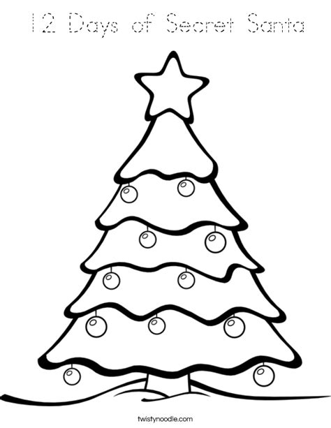 traceable christmas tree 12 days of secret santa coloring page tracing twisty noodle