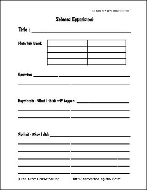 template for science experiment free printable science report forms for homeschoolers