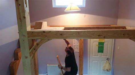 timber frame mezzanine floor high loft bed time lapse