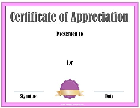 template for certificate of recognition free editable certificate of appreciation customize