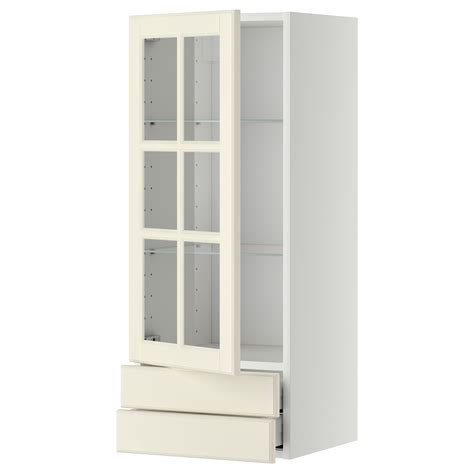 kitchen wall cabinets with drawers metod maximera wall cabinet w glass door 2 drawers white