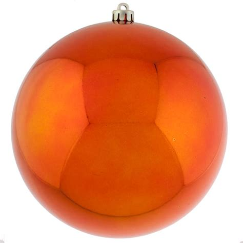 orange baubles shiny shatterproof single 250mm