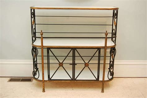 Glass Bakers Rack French Iron Bakers Rack With Milk Glass Shelves At 1stdibs