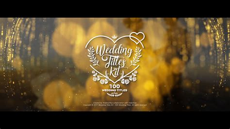 Wedding Titles Kit 100 Titles Titles Envato Videohive After Effects Templates Wedding Intro Templates Free