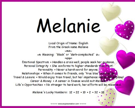 meaning in image gallery melanie meaning