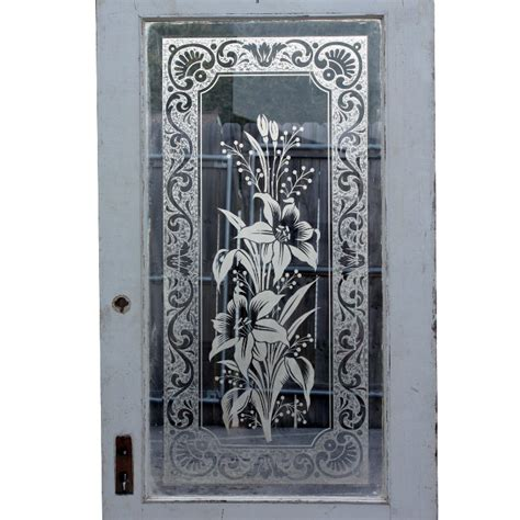 Antique Etched Glass Doors Wonderful Antique 32 Exterior Door With Beveled Glass Etched Floral Design Ned69 Rw For Sale
