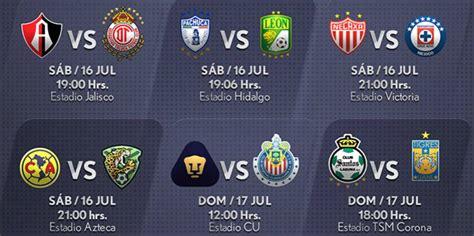 Calendario De Todas Las Ligas De Futbol Fechas Y Horarios De La Jornada 1 Apertura 2016 En La