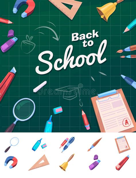 school supplies template vector free colorful school supplies vector illustration stock vector