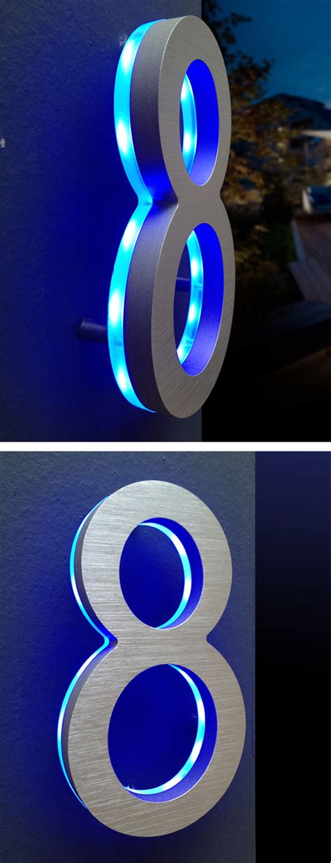 modern blue led house numbers