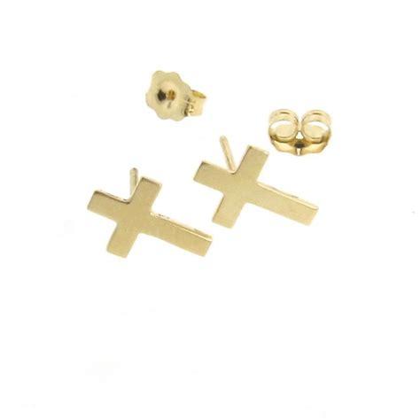 large gold cross earrings gold cross earrings plain