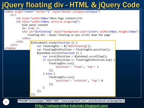 html tutorial using div sql server net and c video tutorial jquery floating div