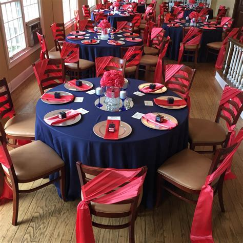 Navy Blue and Coral Wedding Reception by Uniquely Arranged