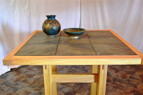 custom tall cypress table with tile top by wonder