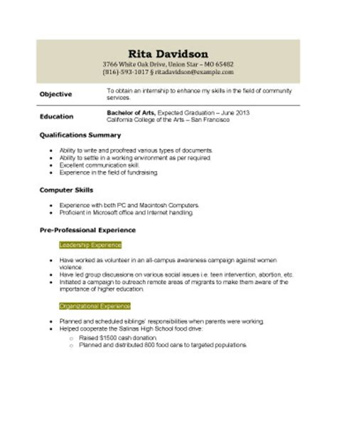 Resume Format High School Graduate Resume For High School Student With No Work Experience