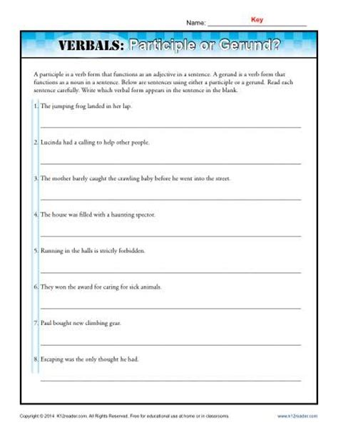 Gerund Worksheet by Verbals Participle Or Gerund Verbal Worksheets