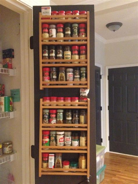 Spice Racks For Pantry Doors by Spice Racks On The Inside Of Pantry Door To Save Space All Spices Kept In Alphabetical Order So
