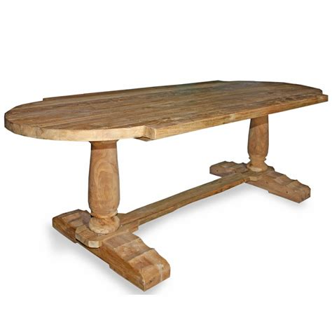 rustic reclaimed teak oval dining table unfinished