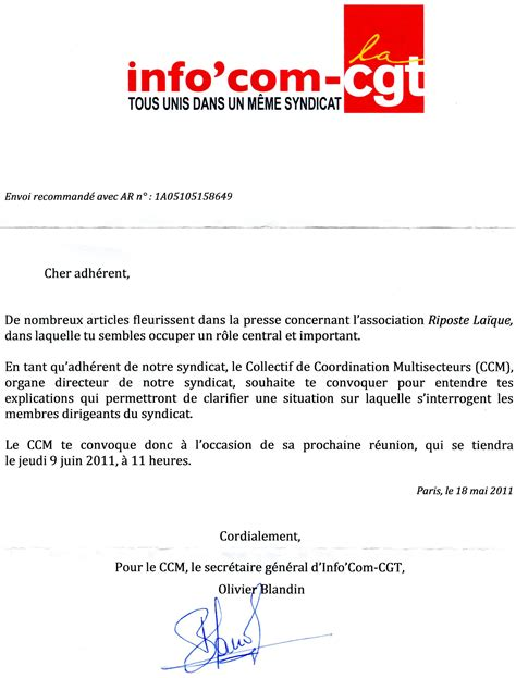 Resiliation Lettre Syndicat Modele Convocation Reunion Syndicale Document