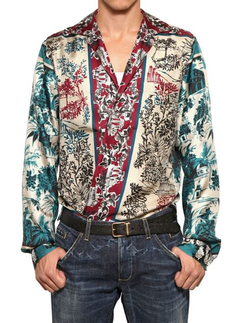 Printed Shirt 2 dolce gabbana printed silk shirt in for multi lyst