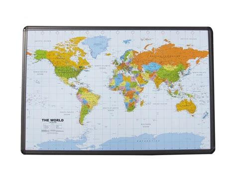 buy world map  cork board aluminum frame  push pins