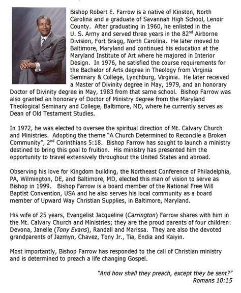 Pastor Bio Template mt calvary church and ministries