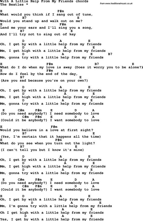 printable lyrics and chords song lyrics with guitar chords for with a little help from