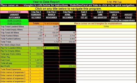 Truck Driver Expense Spreadsheet by Truck Driver Accounting Software Spreadsheet Program From Dieselboss 2018