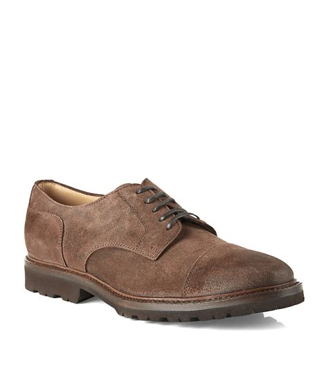 suede oxford shoes brunello cucinelli suede oxford shoe in brown for lyst