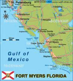 map of fort myers region united states of america usa