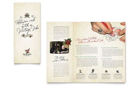 Body Art Tattoo Artist Brochure Template Design Free Skin Care Brochure Templates