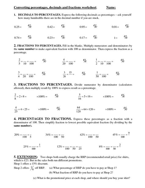 Converting Fractions To Decimals Worksheet Pdf by Fraction To Decimal To Percent Chart Worksheet Fraction Decimal Percent Conversion Chart