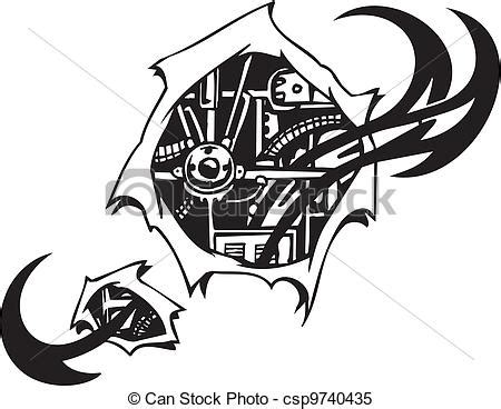 clipart vector of biomechanical designs vector