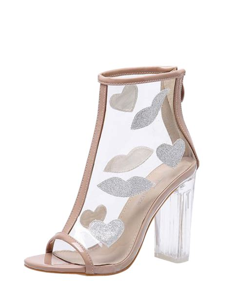 transparent heel boots clear heel zipper transparent plastic ankle boots apricot