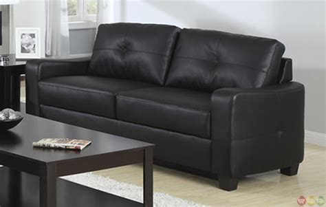 contemporary black bonded leather sofa and