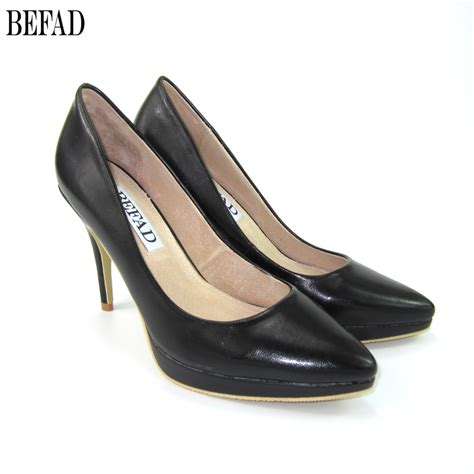 ladies comfortable dress shoes european style fashion show woman high heels genuine