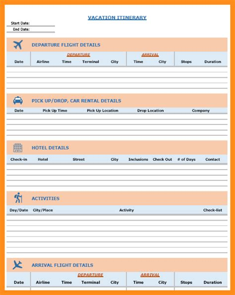 9 free travel itinerary template parts of resume
