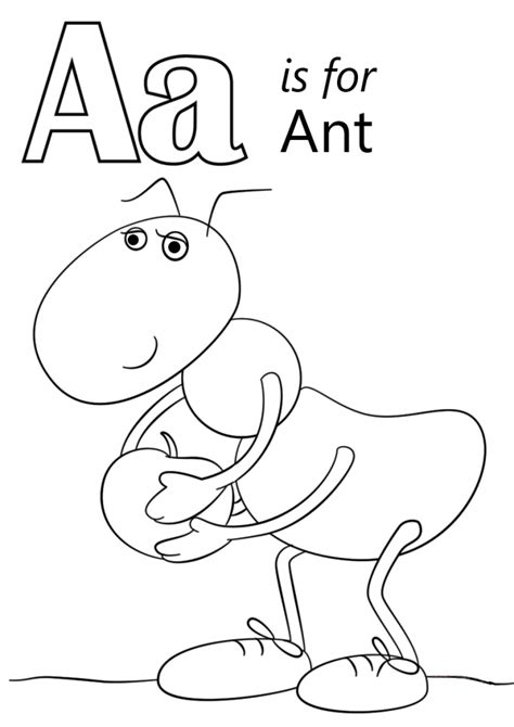 letter a is for ant coloring page printable education