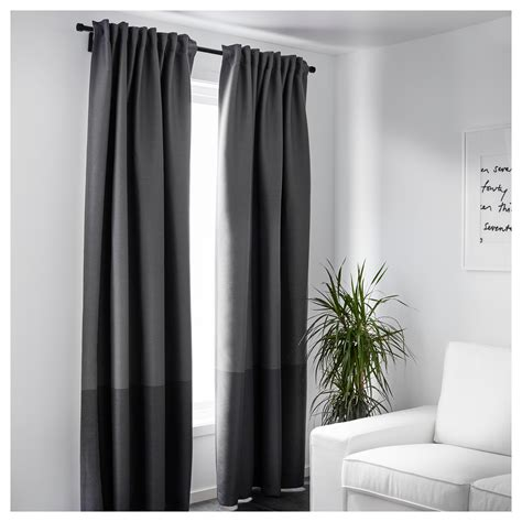 ikea cutains marjun block out curtains 1 pair grey 145x250 cm ikea