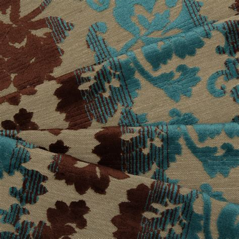 Teal And Brown Upholstery Fabric by Electric Teal Blue Antique Brown Floral Stripe Fade Damask
