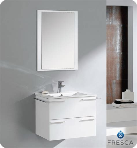 white modern bathroom vanities fresca cielo white 24 quot modern bathroom vanity compact
