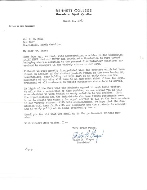 College President Letter Let S All Sit Together Greensboro Citizens Respond To The 1960 Sit Ins In The Edward R Zane