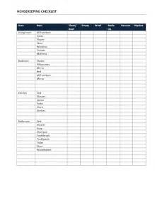 Hourly Checklist Template by Housekeeping Checklist Freewordtemplates Net