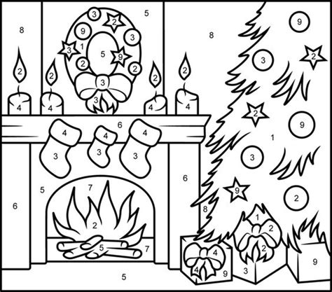 printable hidden picture color by number colors fireplaces and christmas on pinterest