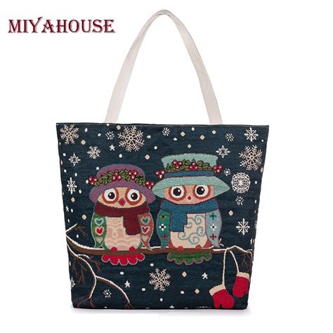 Handmade Totes For Sale - miyahouse sale canvas bag owl printed tote