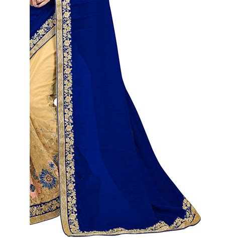 Anget Sari Jahe Inner Box navy blue color designer beautiful chiffon and net saree with blouse grabandpack shop now