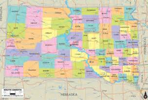 political map of south dakota ezilon maps