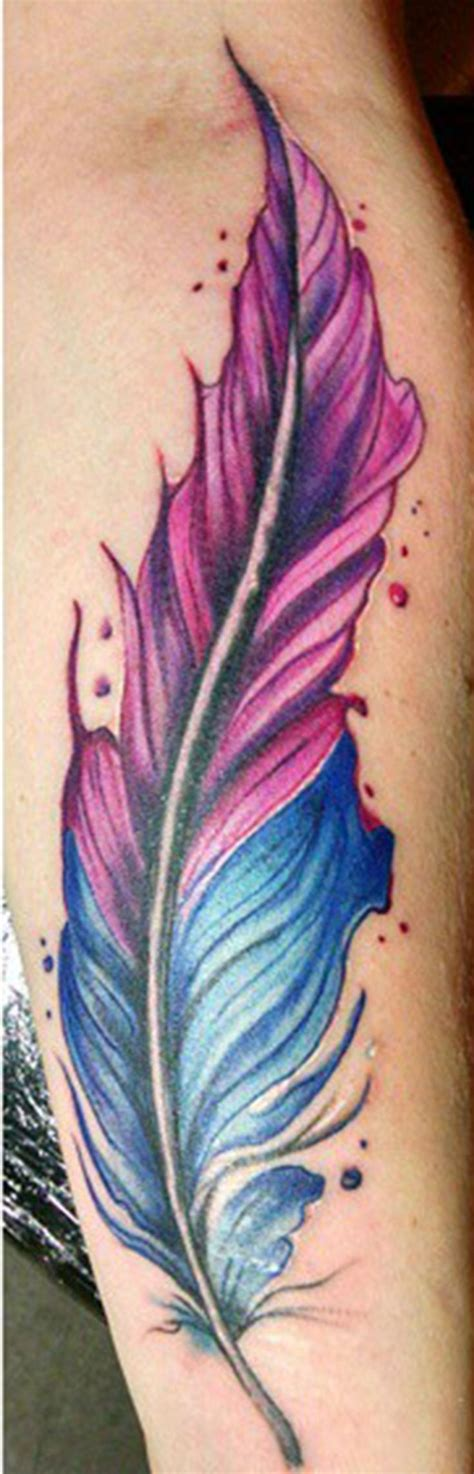 colored feather tattoo 25 best watercolor feather tattoos ideas on