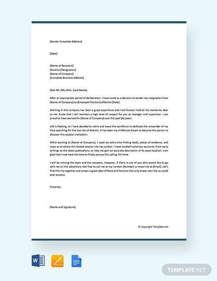 retirement resignation letter template word