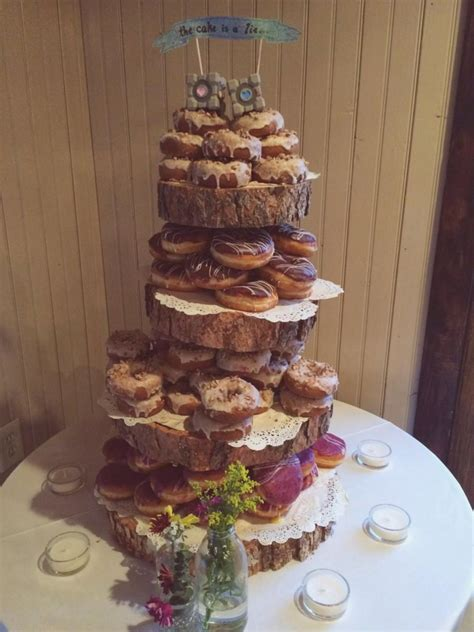 rustic wood tree slice 4 tier donut or cupcake stand for